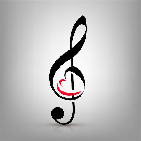 I love music concept, treble clef with an illustration of a heart-shaped Stock Photo - Budget Royalty-Free & Subscription, Code: 400-07613738