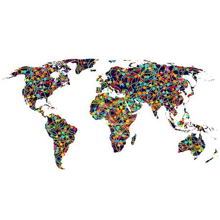 Colored network World map Stock Photo - Budget Royalty-Free & Subscription, Code: 400-07613780