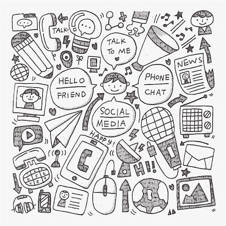 doodle communication background Stock Photo - Budget Royalty-Free & Subscription, Code: 400-07624097