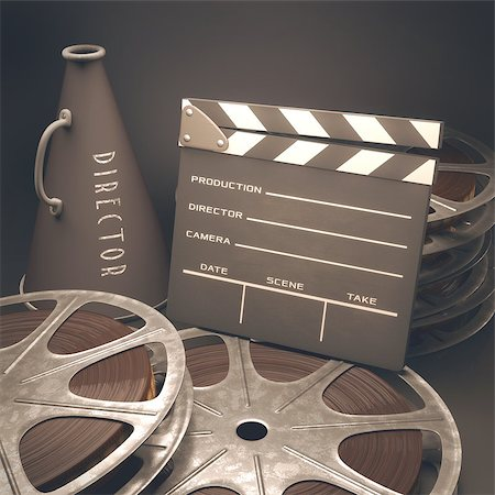 Clapperboard with rolls of film in the retro concept cinema. Stock Photo - Budget Royalty-Free & Subscription, Code: 400-07624394