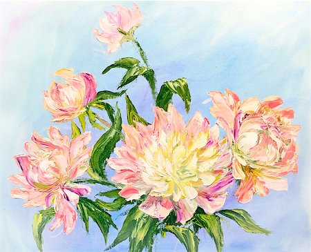 painting a peony bud - Peonies, oil painting on canvas Stock Photo - Budget Royalty-Free & Subscription, Code: 400-07625952