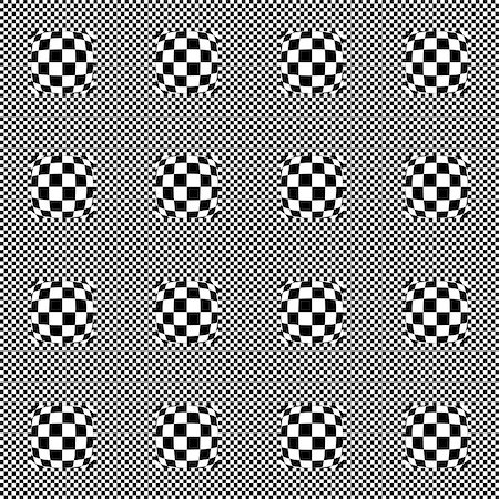 simsearch:400-04476890,k - Design seamless monochrome checkered geometric pattern. Abstract warped textured background. Vector art Stock Photo - Budget Royalty-Free & Subscription, Code: 400-07626413