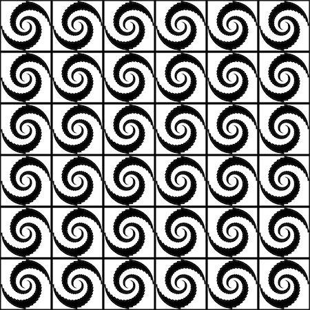 simsearch:400-04476890,k - Design seamless monochrome spiral movement decorative pattern. Abstract whirl background. Vector art Stock Photo - Budget Royalty-Free & Subscription, Code: 400-07626483