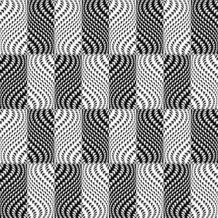 simsearch:400-04476890,k - Design seamless monochrome illusion checked trellised pattern. Abstract distortion textured twisting background. Vector art Stock Photo - Budget Royalty-Free & Subscription, Code: 400-07626506