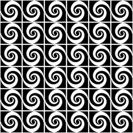 simsearch:400-04476890,k - Design seamless monochrome spiral movement decorative pattern. Abstract whirl background. Vector art Stock Photo - Budget Royalty-Free & Subscription, Code: 400-07626544