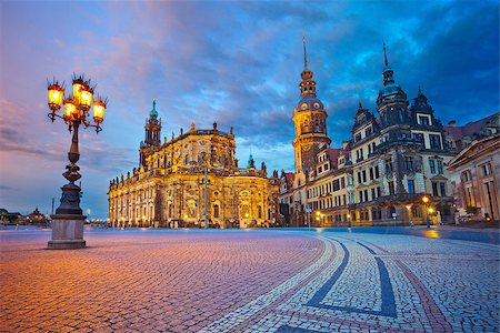 Image of Dresden, Germany during twilight blue hour. Stock Photo - Budget Royalty-Free & Subscription, Code: 400-07626684