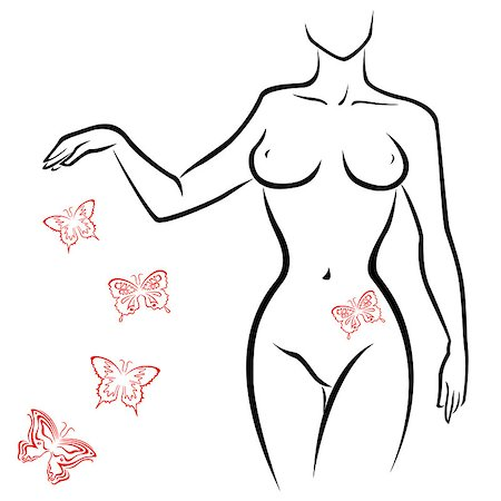 Abstract outline of a sexy woman body with red butterflies, hand drawing sketching vector artwork Stock Photo - Budget Royalty-Free & Subscription, Code: 400-07626775