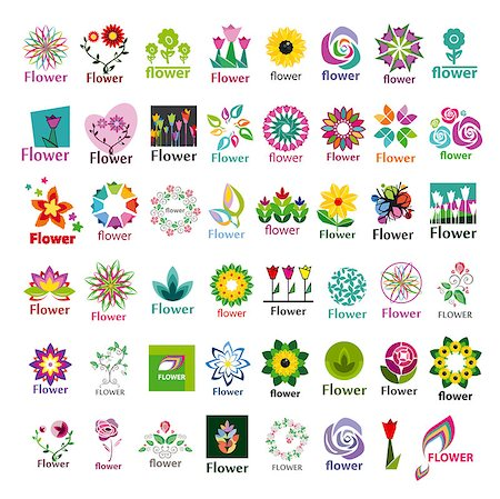 rose vector - large collection of vector floral logos Stock Photo - Budget Royalty-Free & Subscription, Code: 400-07627556