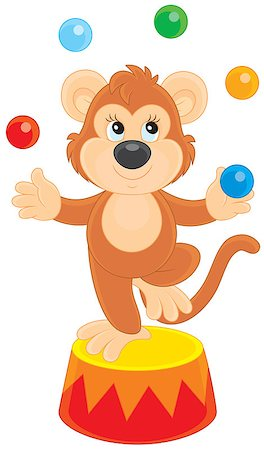 smiling chimpanzee - Chimpanzee juggling with color balls in a circus show Stock Photo - Budget Royalty-Free & Subscription, Code: 400-07629333