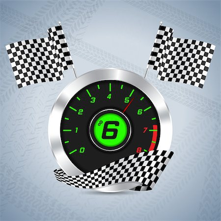 scalable - Rev counter with checkered flag and tire track background Stock Photo - Budget Royalty-Free & Subscription, Code: 400-07620581