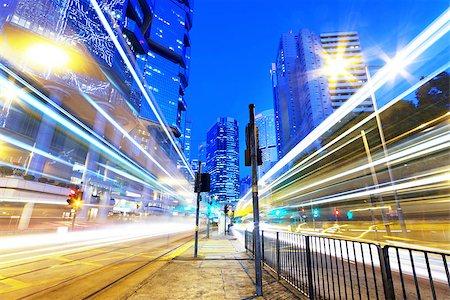 HongKong downtown traffic light trails Stock Photo - Budget Royalty-Free & Subscription, Code: 400-07620762