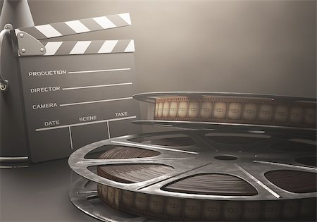 Clapperboard with rolls of film in the retro concept cinema. Stock Photo - Budget Royalty-Free & Subscription, Code: 400-07621006