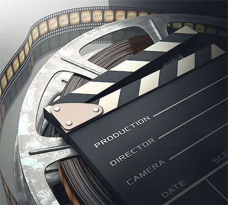 Clapperboard with rolls of film in the retro concept cinema. Stock Photo - Budget Royalty-Free & Subscription, Code: 400-07621007