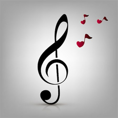 I love music concept, treble clef and heart-shaped music notes Stock Photo - Budget Royalty-Free & Subscription, Code: 400-07621312