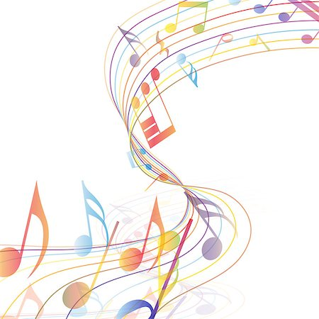 Multicolor musical note staff background. Vector illustration EPS 10 with transparency. Stock Photo - Budget Royalty-Free & Subscription, Code: 400-07622060