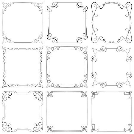 pzromashka (artist) - Set of nine different vector decorative frames Stock Photo - Budget Royalty-Free & Subscription, Code: 400-07623973