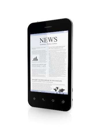 Modern mobile phone a news on a screen.Isolated on white background.3d rendered. Stock Photo - Budget Royalty-Free & Subscription, Code: 400-07634037