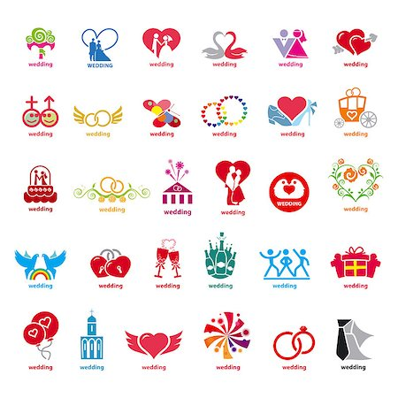 biggest collection of vector logos wedding Stock Photo - Budget Royalty-Free & Subscription, Code: 400-07634268