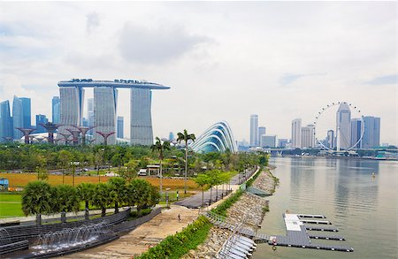 Singapore city skyline at day Stock Photo - Budget Royalty-Free & Subscription, Code: 400-07634367