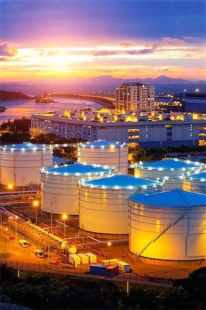 Oil tanks at sunset , hongkong tung chung Stock Photo - Budget Royalty-Free & Subscription, Code: 400-07634374