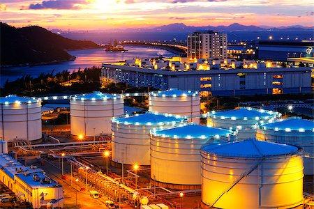 Oil tanks at sunset , hongkong tung chung Stock Photo - Budget Royalty-Free & Subscription, Code: 400-07634375