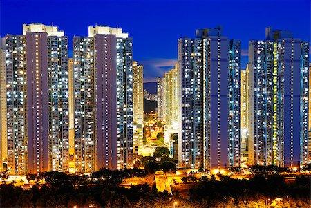 Public Estate in Hong Kong at night Stock Photo - Budget Royalty-Free & Subscription, Code: 400-07634388