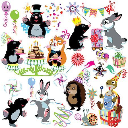 cartoon set with birthday party of mole, isolated images for little kids Stock Photo - Budget Royalty-Free & Subscription, Code: 400-07630096