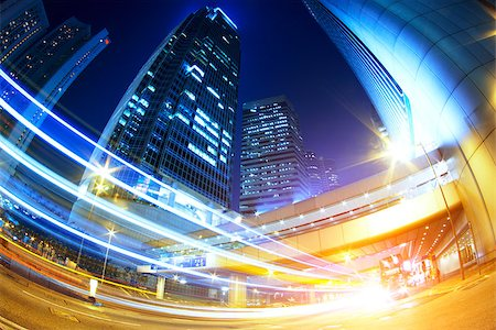 hong kong modern city High speed traffic and blurred light trails Stock Photo - Budget Royalty-Free & Subscription, Code: 400-07630735