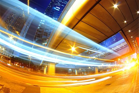 hong kong modern city High speed traffic and blurred light trails Stock Photo - Budget Royalty-Free & Subscription, Code: 400-07630736