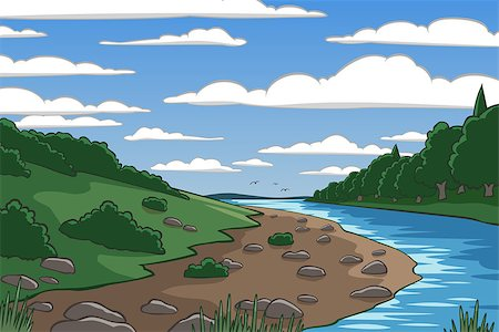 Editable vector illustration of a river valley landscape Stock Photo - Budget Royalty-Free & Subscription, Code: 400-07632252