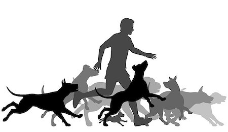 Editable vector silhouettes of a man and pack of dogs running together with all elements as separate objects Stock Photo - Budget Royalty-Free & Subscription, Code: 400-07632253
