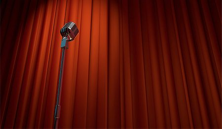 3d retro microphone on red curtain background, low angle view Stock Photo - Budget Royalty-Free & Subscription, Code: 400-07632543