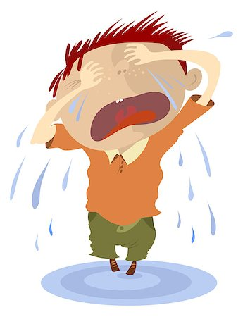 Crying child makes a puddle of tears Stock Photo - Budget Royalty-Free & Subscription, Code: 400-07633508