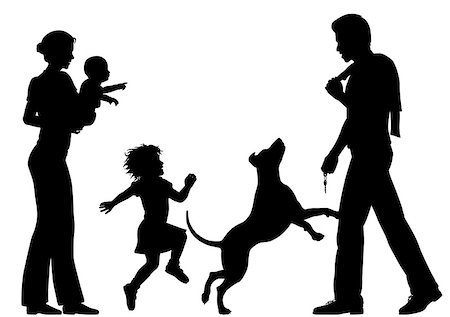 Editable vector silhouettes of a man welcomed home by wife, children and dog with all figures as separate objects Stock Photo - Budget Royalty-Free & Subscription, Code: 400-07633837