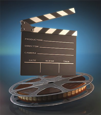 Clapperboard and roll of film in the retro concept cinema. Stock Photo - Budget Royalty-Free & Subscription, Code: 400-07658167