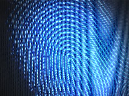 Fingerprint on a led screen. Concept of technology. Stock Photo - Budget Royalty-Free & Subscription, Code: 400-07658168