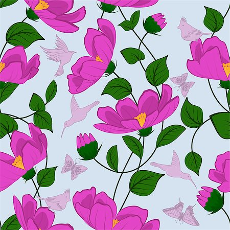 Seamless vector floral pattern. For easy making seamless pattern just drag all group into swatches bar, and use it for filling any contours. EPS 10. Stock Photo - Budget Royalty-Free & Subscription, Code: 400-07659535