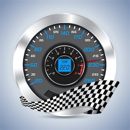 scalable - Speedometer with rev counter and checkered ribbon Stock Photo - Budget Royalty-Free & Subscription, Code: 400-07666314