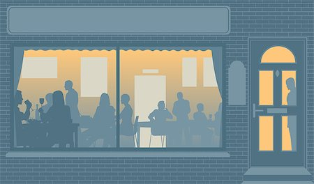 Editable vector illustration of people eating through a restaurant window Stock Photo - Budget Royalty-Free & Subscription, Code: 400-07666468