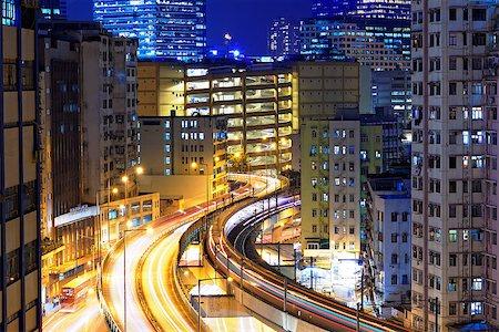 traffic in Hong Kong at night Stock Photo - Budget Royalty-Free & Subscription, Code: 400-07667239
