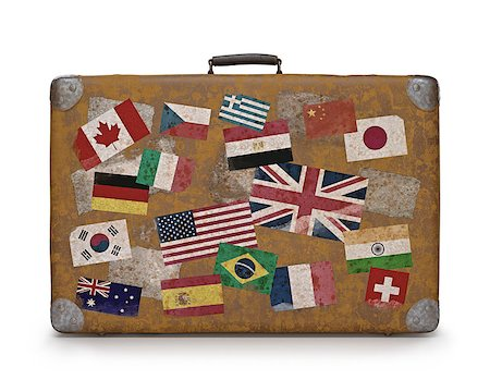 Antique suitcase with stamps flags representing each country traveled. Clipping path included. Stock Photo - Budget Royalty-Free & Subscription, Code: 400-07668474