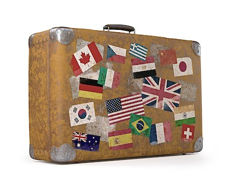 Antique suitcase with stamps flags representing each country traveled. Clipping path included. Stock Photo - Budget Royalty-Free & Subscription, Code: 400-07668476