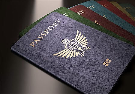 Colorful passports on a dark reflective table. Stock Photo - Budget Royalty-Free & Subscription, Code: 400-07668471