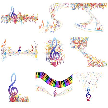 sheet music background - Multicolour  musical notes staff set. Vector illustration with transparency EPS10. Stock Photo - Budget Royalty-Free & Subscription, Code: 400-07669578