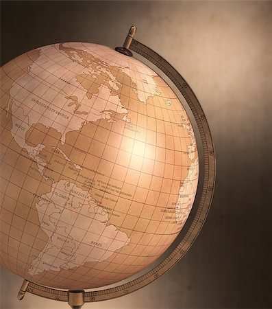 Antique globe with spotty background. Clipping path included. Stock Photo - Budget Royalty-Free & Subscription, Code: 400-07669805