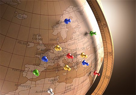 Antique globe with nails marking the travel route. Stock Photo - Budget Royalty-Free & Subscription, Code: 400-07669803