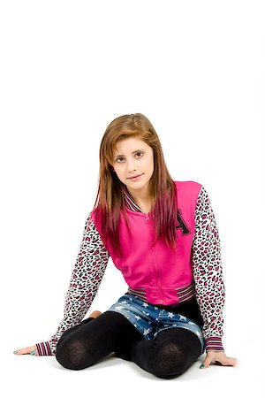 sitting studio fashion portrait of young beautiful girl with nice eyes on white background Stock Photo - Budget Royalty-Free & Subscription, Code: 400-07660111