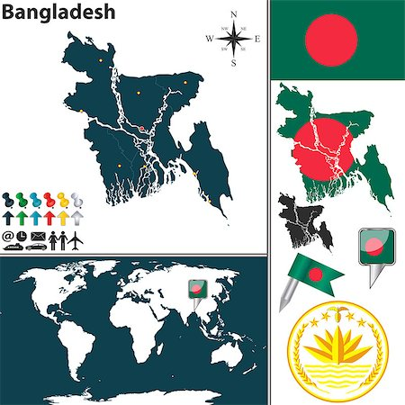 dhaka - Vector map of Bangladesh with regions, coat of arms and location on world map Stock Photo - Budget Royalty-Free & Subscription, Code: 400-07661879