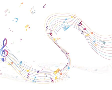 sheet music background - Multicolor musical note staff background. Vector illustration EPS 10 with transparency. Stock Photo - Budget Royalty-Free & Subscription, Code: 400-07661986