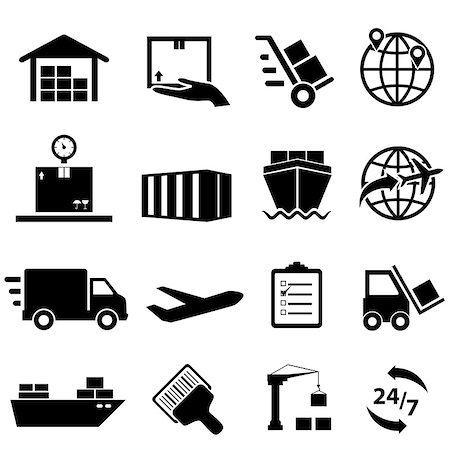 soleilc (artist) - Shipping, cargo and logistic icon set Stock Photo - Budget Royalty-Free & Subscription, Code: 400-07662171